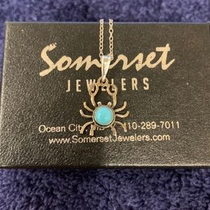 Jewelry - Sterling Silver Crab Pendant w/Turquoise Necklace